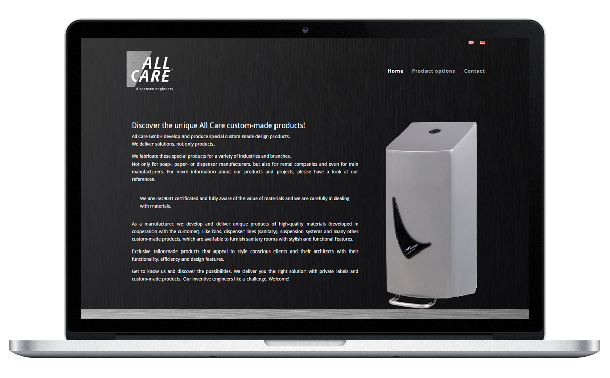Preview van website voor All Care GmbH